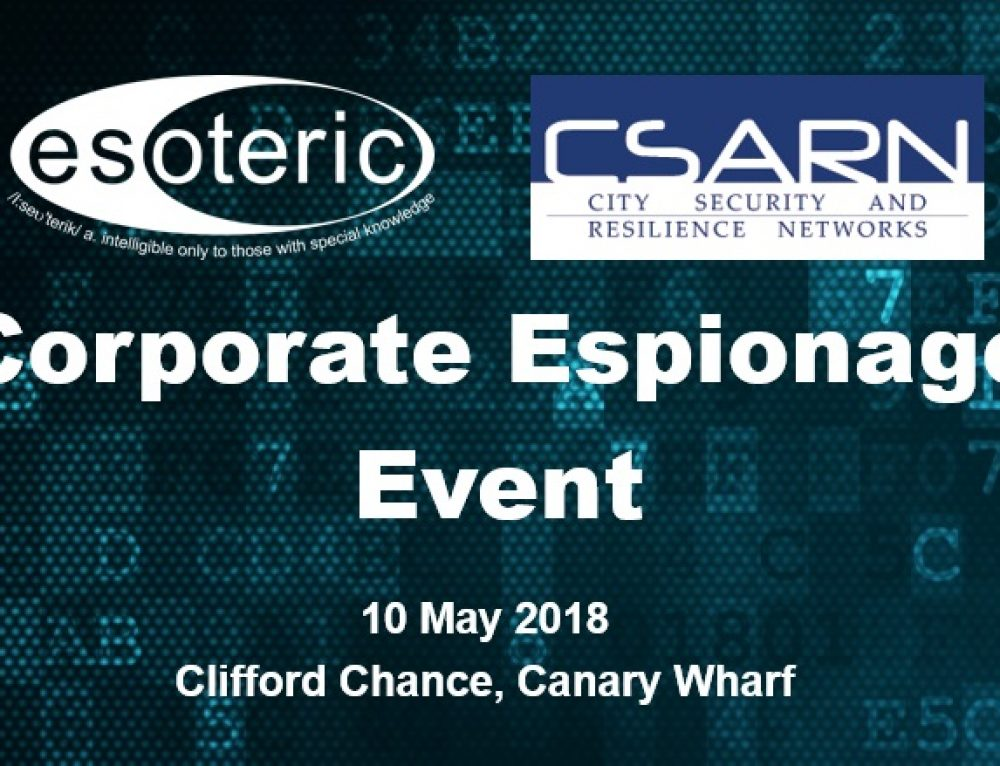 Esoteric Supports CSARN Corporate Espionage event